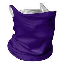 Load image into Gallery viewer, Solid Purple Premium Fitted Neck Gaiter with Ear Support with White Trim