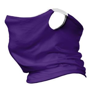 Solid Purple Premium Fitted Neck Gaiter with Ear Support with White Trim