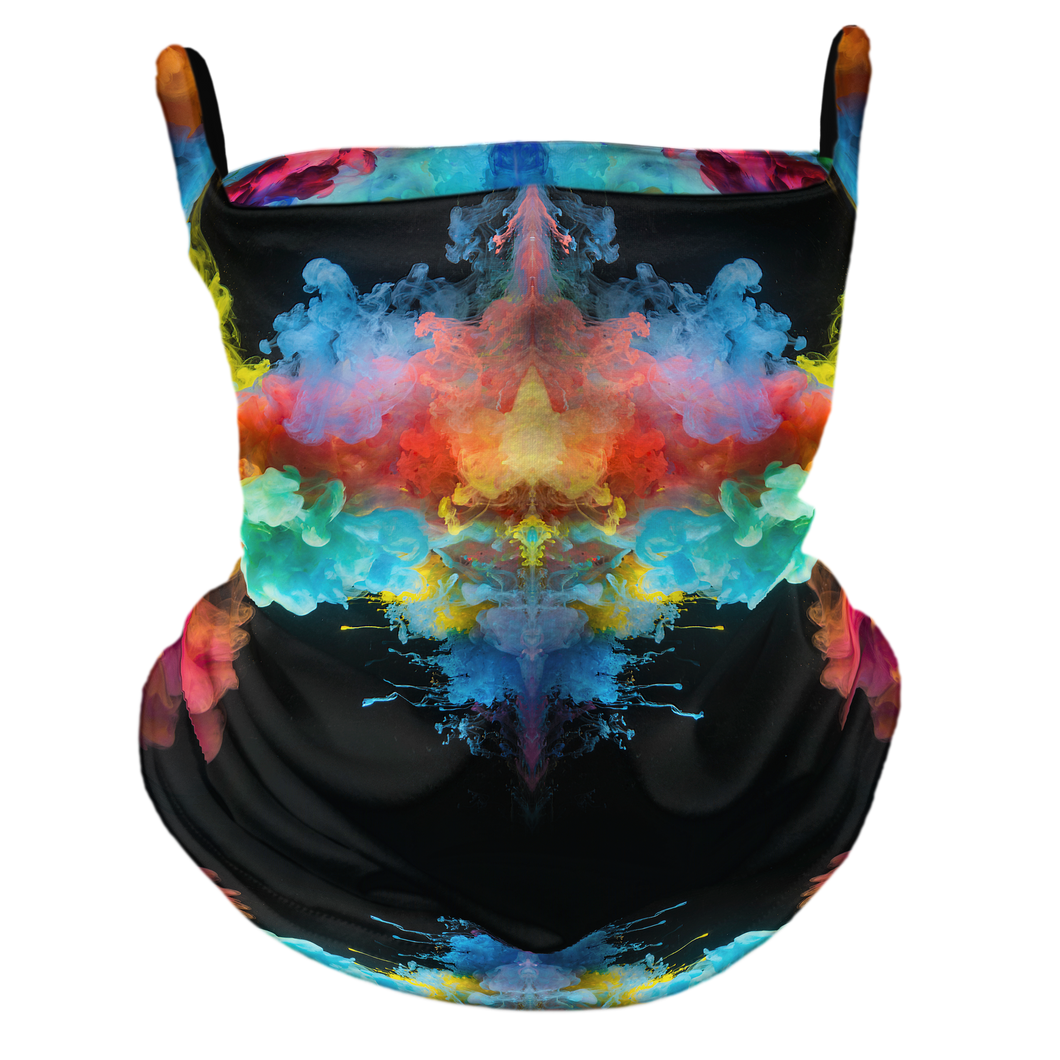 Rainbow Smoke Premium Fitted Neck Gaiter with Ear Support
