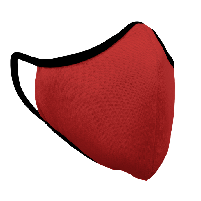 Solid Red Premium Fitted Face Cover with Black Trim