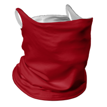 Load image into Gallery viewer, Solid Red Premium Fitted Neck Gaiter with Ear Support with White Trim
