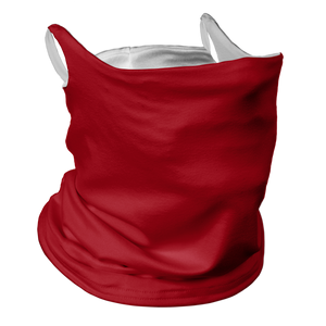Solid Red Premium Fitted Neck Gaiter with Ear Support with White Trim
