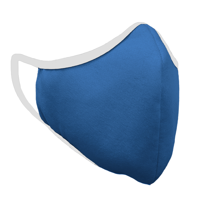 Solid Royal Blue Premium Fitted Face Cover with White Trim