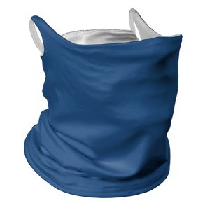Solid Royal Blue Premium Fitted Neck Gaiter with Ear Support with White Trim