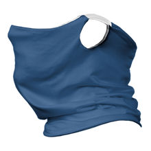 Load image into Gallery viewer, Solid Royal Blue Premium Fitted Neck Gaiter with Ear Support with White Trim