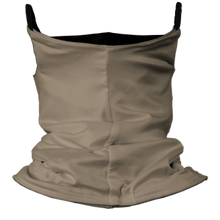 Load image into Gallery viewer, Solid Tan Premium Fitted Neck Gaiter with Ear Support with Black Trim