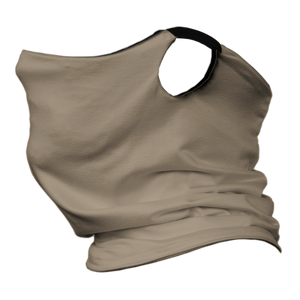 Solid Tan Premium Fitted Neck Gaiter with Ear Support with Black Trim