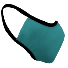 Load image into Gallery viewer, Solid Teal Premium Fitted Face Cover with Black Trim