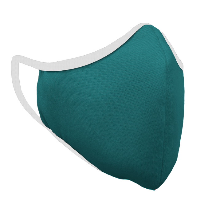 Solid Teal Premium Fitted Face Cover with White Trim