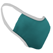 Load image into Gallery viewer, Solid Teal Premium Fitted Face Cover with White Trim