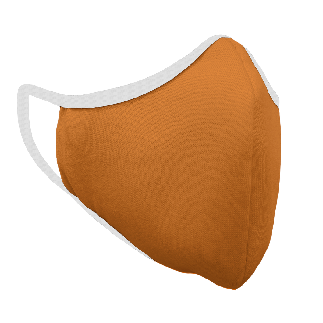 Solid Texas Orange Premium Fitted Face Cover with White Trim