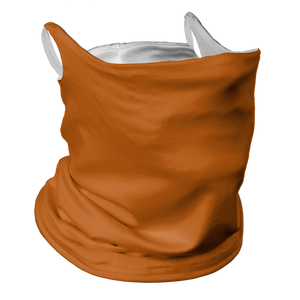 Solid Texas Orange Premium Fitted Neck Gaiter with Ear Support with White Trim