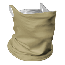 Load image into Gallery viewer, Solid Vegas Gold Premium Fitted Neck Gaiter with Ear Support with White Trim