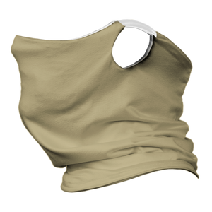 Solid Vegas Gold Premium Fitted Neck Gaiter with Ear Support with White Trim