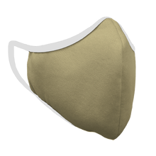Load image into Gallery viewer, Solid Vegas Gold Premium Fitted Face Cover with White Trim