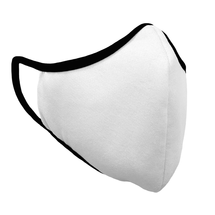 Solid White Premium Fitted Face Cover with Black Trim