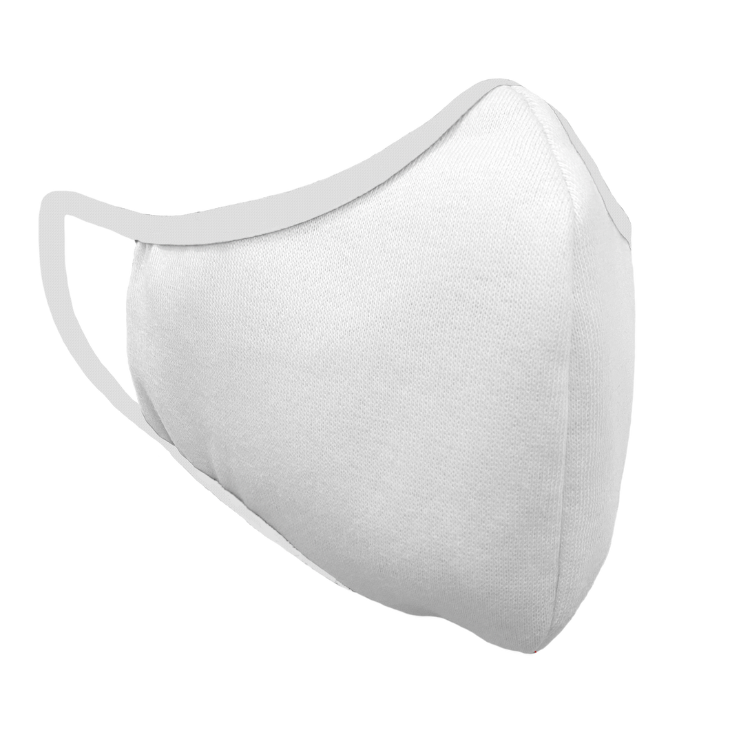 Solid White Premium Fitted Face Cover with White Trim