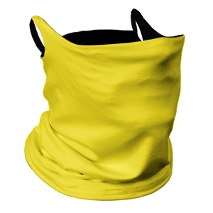 Solid Yellow Premium Fitted Neck Gaiter with Ear Support with Black Trim