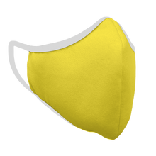Load image into Gallery viewer, Solid Yellow Premium Fitted Face Cover with White Trim