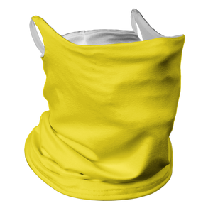 Solid Yellow Premium Fitted Neck Gaiter with Ear Support with White Trim