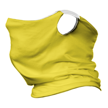 Load image into Gallery viewer, Solid Yellow Premium Fitted Neck Gaiter with Ear Support with White Trim