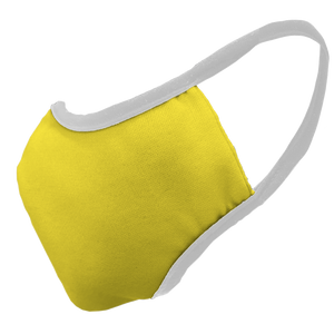 Solid Yellow Premium Fitted Face Cover with White Trim