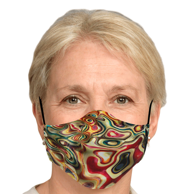 Woman wearing patterned face mask