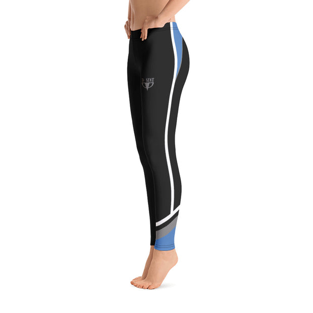 Black with White Piping Fitness Leggings - Dark Sentinel
