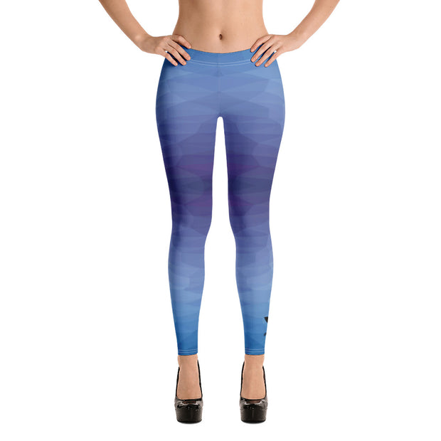 Dark Sentinel Blue Polyga Geometric Leggings - Dark Sentinel