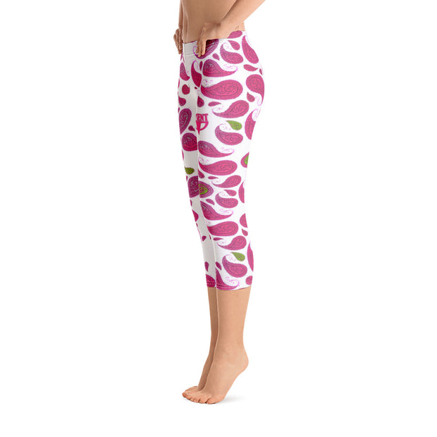 Paisley White and Pink Capri Leggings - Dark Sentinel
