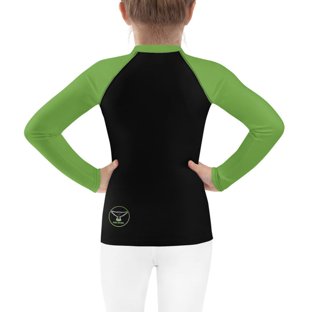Vivid Green T-Rex Rash Guard - Dark Sentinel