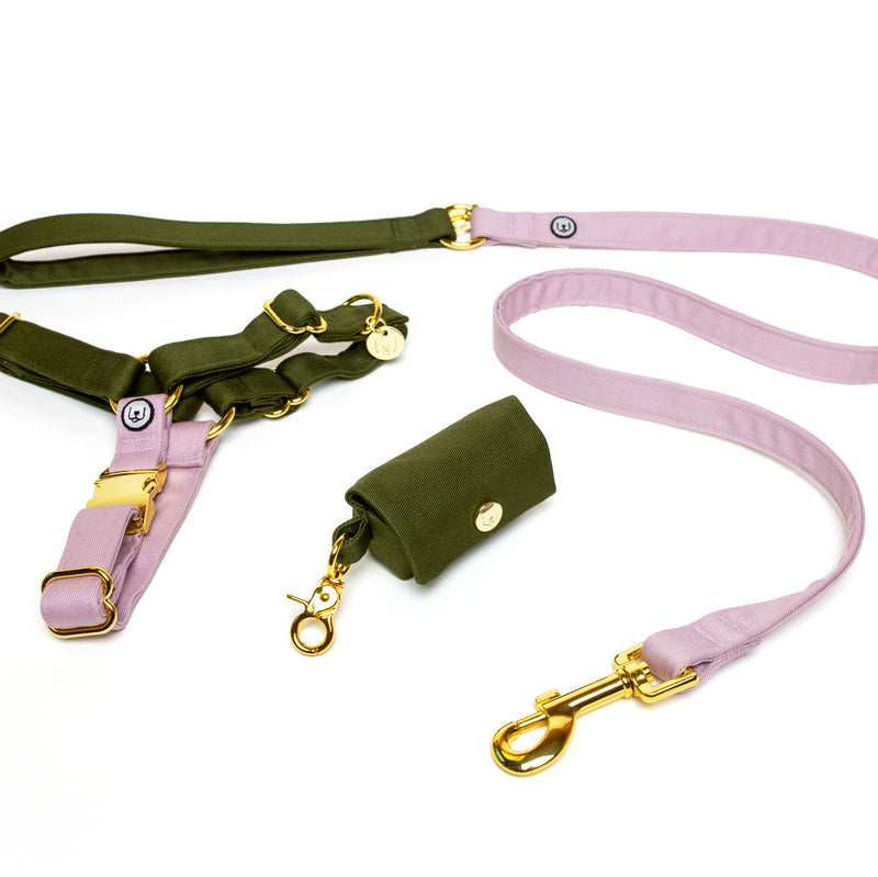 Olive-Lilac No-Pull Harness Set