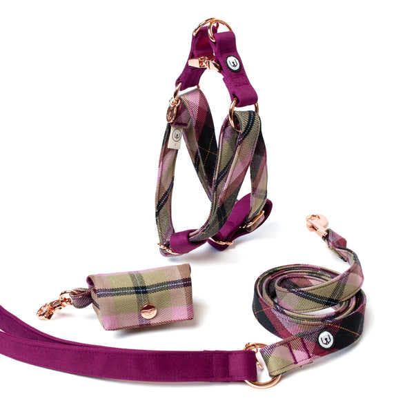Plum Plaid Step-In Harness Set