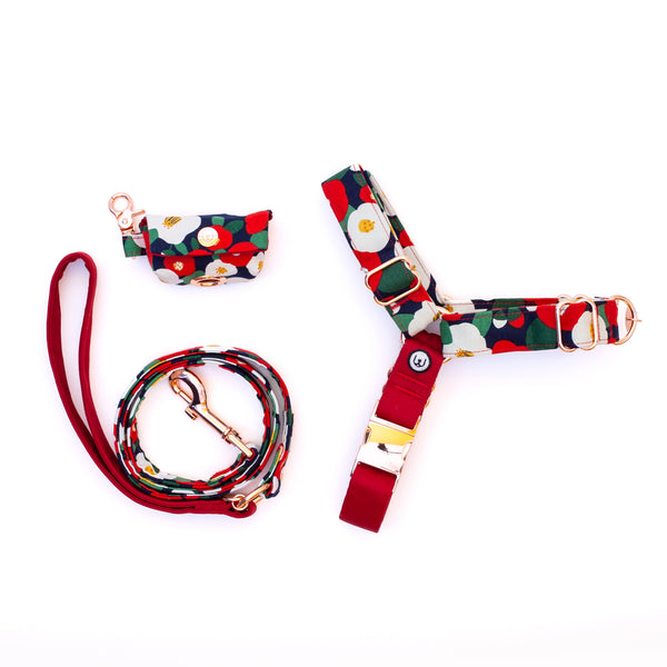 Camellia No-Pull Harness Set - Ruby