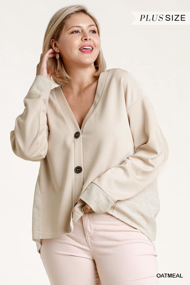 Linen Blend Button Down Cardigan With High Low Hem