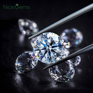 NiceGems D Color Moissanite 0.5CTW 3EX Hearts And Arrows 5MM Moissanites Loose Gems Colorless Lab Grown Diamond loose Stone VVS1
