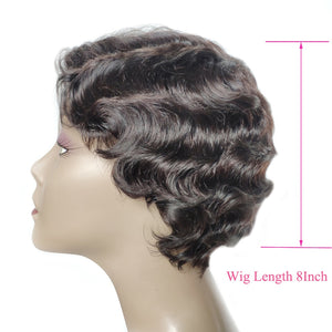 Superfect Short Human Hair Wigs For Women Ocean Wave Remy Natural Color Human Hair Wig 8Inch Brazilian Wig