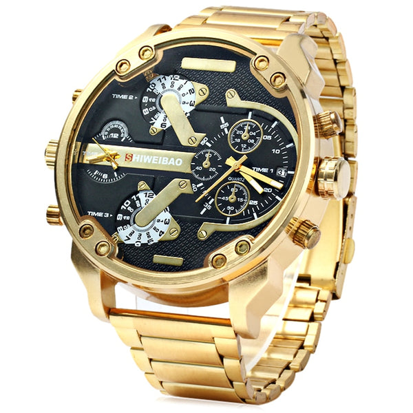Big Watch Men Luxury Golden Steel Watchband Men's Quartz Watches Dual Time Zone Military Relogio Masculino Casual Clock Man XFCS
