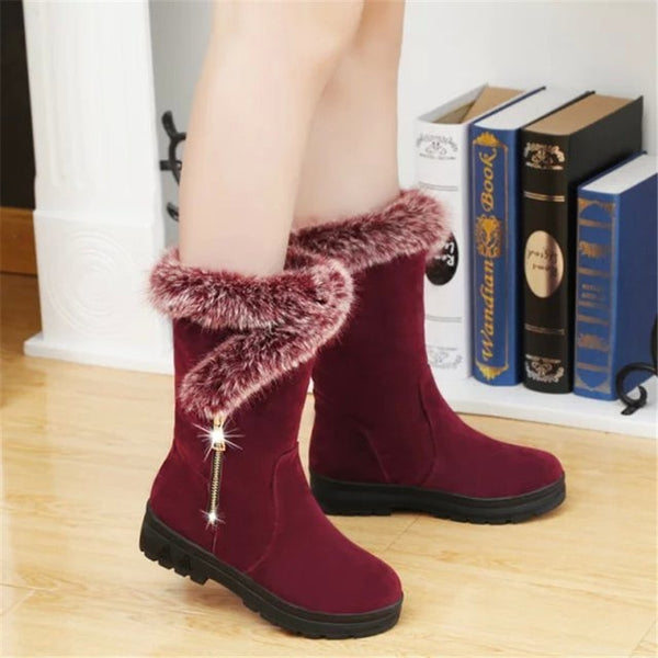 New Winter Women Boots Casual Warm Fur Mid-Calf Boots shoes Women Slip-On Round Toe flats Snow Boots shoes Muje Plus size 35-41