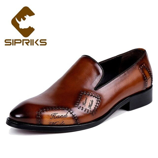 Sipriks Mens Genuine Leather Slip-On Shoes Retro Man Business Gents Suit Formal Tuxedo Shoes Luxury Brand Blue Brown Big 37 - 46