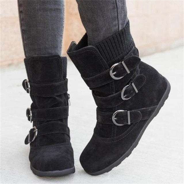 New  Women Warm Snow Boots Arrival Flat Plush Casual Ladies Shoes Plus Size Autumn Winter Buckle Female Mid Calf Boots