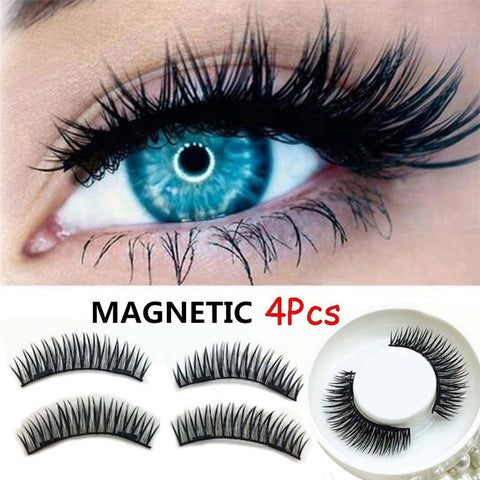 4pcs New Easy Wear 3D Magnetic Eyelash False Eyelash Double Magnet Full Strip Magnetic Lashes Soft Hair Reusable