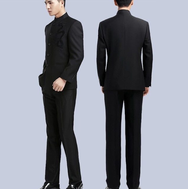 Brand Men Suits Big size Chinese Mandarin Collar Male Suit Slim Fit Blazer Wedding Terno Tuxedo 2 Pieces Jacket & Pant