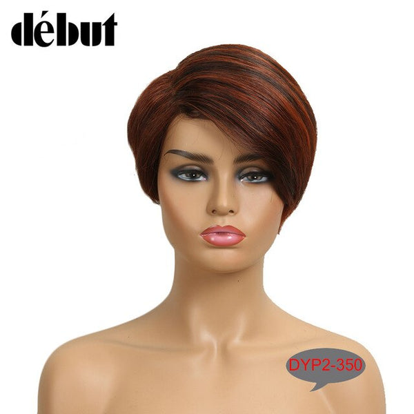 Debut 613 Lace Part Wigs Human Hair Wigs For Black Women Red Lace Front Short Bob Wigs Piexe Cut Straight Purple Ombre Lace Wigs
