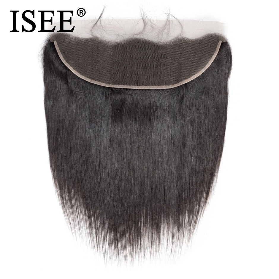 ISEE HAIR Brazilian Straight Lace Frontal Closure 13*4 Ear to Ear Free Part Frontal 130% Destiny Remy Hair Free Shipping