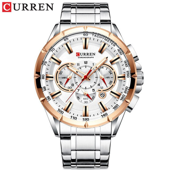 CURREN Sport Watches Men's Luxury Brand Quartz Clock Stainless Steel Chronograph Big Dial Wristwatch with Date Relogio Masculino