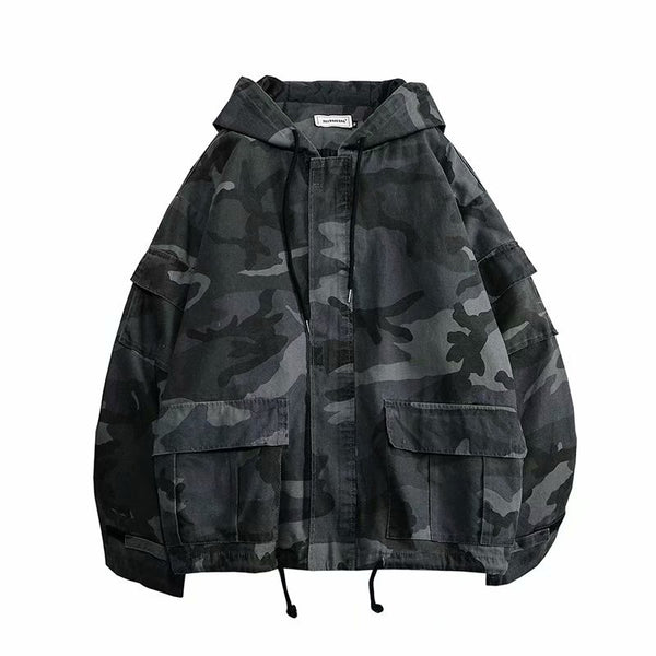 Spring and Autumn New gray Camouflage Hooded Jackets Men Army Green Windbreaker Casual Loose Coats
