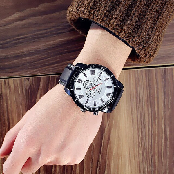 Men Watches Fashion 7 Color lights Glow Watches Men's Quartz Silicone Band Sports Watches Big Watch Man Clock horloges mannen
