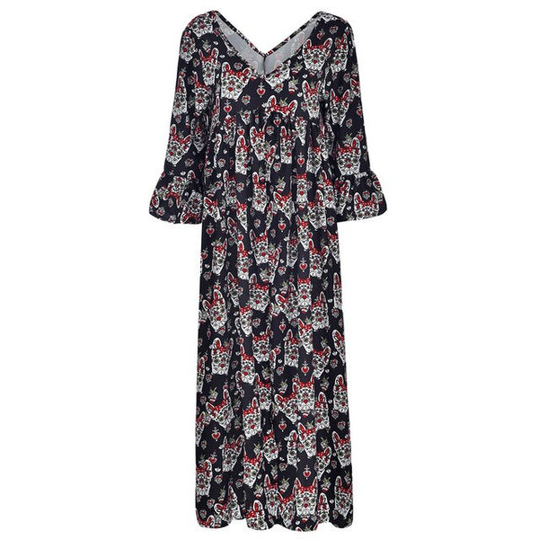 Women's Ladies Loose Plus Size Print Long Sleeve V-neck Long Dress Casual Chiffon Boho print Party Dresses Casual Print Vestidos