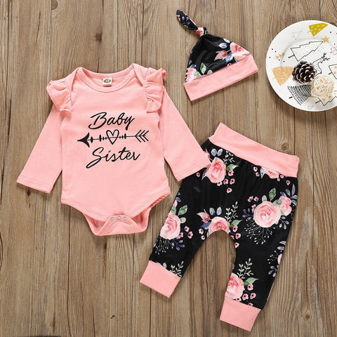 Autumn New Fashion Kid Toddler Infant Baby Boy Girl Pink Yellow Black White Letter Romper+Print Pants+Cap Outfits Set Z4